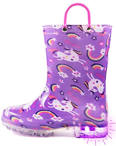 Outee Toddler Rain Boots Girls Kids Light Up Printed Waterproof Shoes Lightweight Adorable Cute Purple Unicorn Rainbow Rubber with Easy-On Handles and Insole (Size 8,Purple)