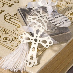 DISOK - Punto De Libro Cruz Con Borla En Cajita De Regalo - Detalles, recuerdos para invitados de Comuniones baratos
