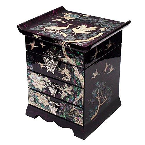 Antique Alive Jewellery Box Mère de Pearl Grue Oiseau et pin tiroir Bijoux Miroir en Bois Noir Design Arbre à Bijoux laquée Asiatique Trésor Cadeau Souvenir boîte de Rangement Poitrine
