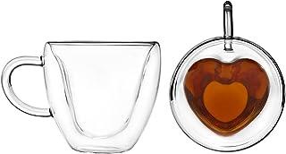 Artisan Roast Double Walled Heart Shaped Coffee Mug - Set of 2
