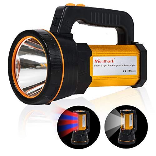 MAYTHANK Extrem helle Wiederaufladbare Taschenlampe CREE Led Batterien 10000mah Akku 4000 Lumen USB Aufladbar Handscheinwerfer Handlampe Gross Suchscheinwerfer Flashlight Laterne Camping