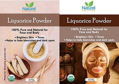 Liquorice Powder 100% organic fine powder can be used for cooking and used for facial and spa treatments. Recipes for facial and body scrub given. Reduces blemishes, cleanser,exfoliate for face N body
