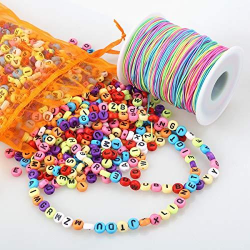 ZesNice 1200 Stück Buchstabenperle, Bunt Rund Buchstaben Perlen zum Auffädeln mit 100 m Elastisch Regenbogen Schnur, Bastelset für Kinder für Armband Haarband Schmuck Basteln