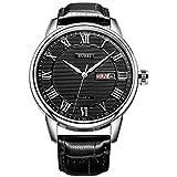 BUREI Reloj de Pulsera Clásico de Cuarzo para Hombres con Fecha de día Gran Número Romano Diseño de Dial con Textura y Correa de Cuero Suave (SM-19001-P05ER02)