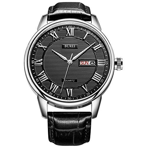 BUREI Mens Simple Luxury Day Date Armbanduhren mit klassisch Analog Quarz-dial römischen Schwarz Ziffern Schwarz Lederband