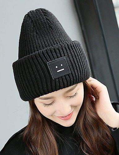 ZYT Bonnet/Crochet Automne/Hiver Vintage/Travail / Décontracté Tricots Unisexe, Black, One-Size