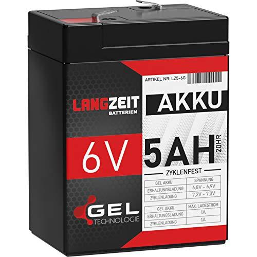 LANGZEIT 6V Akku 5Ah Gel Profi Blei Akku für Kinderauto Elektroauto USV UPS extrem zyklenfest vorgeladen auslaufsicher ersetzt 4Ah 4,5Ah