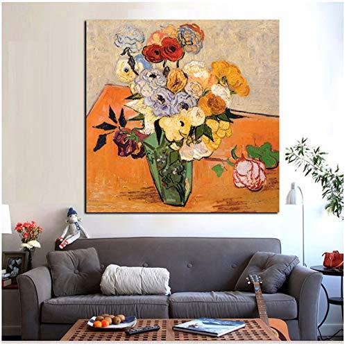 """NIESHUIJING Print op canvas HD-print vaas met rozen anemonen Iris abstract bloemenschilderij wandkunst afbeelding poster voor de woonkamer 15.7""""x15.7""""(40x40cm) Geen lijst1"""