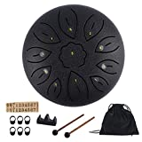 Steel Tongue Drum 11 Notes 6 Inches Dia Lotus type Steel Handpan Drum Percussion Drums Instrument Steel Tung Drum C-Key with Mallets, Book, Notes Sticker,Drum Stick Holders, Finger Picks, Bag (Black)