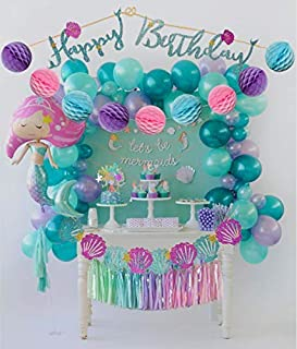 Mermaid Tails Birthday Under The Sea Decorations Supplies Kit for Birthday, Bridal & Baby Shower Themed Let's Be Little Mermaids Party - Premium Quality by PomPomGLAM