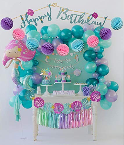 Mermaid Tails Birthday Under The Sea Decorations Supplies Kit for Birthday, Bridal & Baby Shower Themed Lets Be Little Mermaids Party - Premium Quality by PomPomGLAM