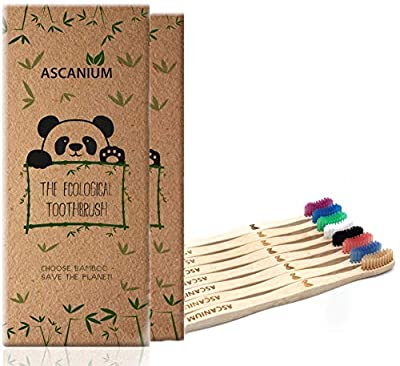 Bamboo Toothbrush Charcoal Biodegradable Wood Toothbrush Eco Friendly Toothbrushes Natural Vegan Organic Tooth Brushes With Wooden Handle For Family and Kids (2 Packs of 8)