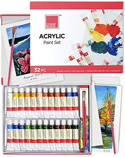 COLOUR BLOCK 32pc Acrylic Paint Set in Tubes with Paint Brushes and Paint Paper. for Painting Canvas, Wood, Rock, Fabric and Much More ! Kids, Teens, Adults and Starters to Professional Artists