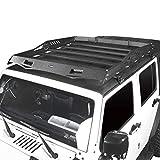Hooke Road Jeep Wrangler JK Hard Top Roof Rack Cargo Carrier Luggage Basket for 2007-2018 Jeep Wrangler JK Unlimited 4-Door