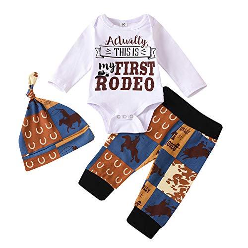 Aisheny Eigentlich Ist Dies Meine Erste Rodeo-Outfits Baby Boy Rodeo Strampler Hosen Hut Kleidung Set