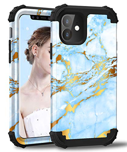 Hocase iPhone 11 Case, Heavy Duty Shockproof Protection Hard Plastic+Silicone Rubber Bumper Hybrid Dual-Layer Protective Case for iPhone 11 (6.1-inch Display) 2019 - Golden Glitters/Blue Marble