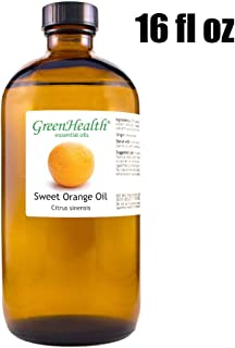 GreenHealth Sweet Orange – 100% Pure Essential Oil 16 fl oz (473 ml) Glass Bottle