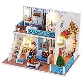 KJRJW Miniatura casa de muñecas, bricolaje de madera en miniatura dollshouse Artesanía Kit Helen modelo con las luces llevadas Juego Set de guardapolvos for niños y adultos regalo de cumpleaños de Nav