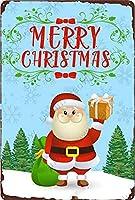 メリークリスマス、面白いサンタクロース ヴィンテージスタイル メタルサイン アイアン 絵画 屋内 & 屋外 ホームバー コーヒー キッチン 壁の装飾 8 x 12 インチ