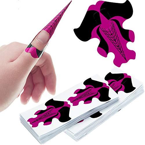 200 Stücke Nagelform Guide Aufkleber Goldfischförmige Nagelverlängerung Tipps Selbstklebende Kunst Nagelspitzen DIY Werkzeuge für Frauen Mädchen Nagel Gel DIY