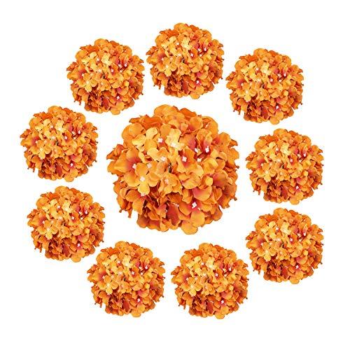 Cotemdery Künstliche Hortensien, 10 Stück, Seide, Hortensien, Blütenköpfe mit Stiel für Blumenarrangements, Tischdekoration, Hochzeit, Heimdekoration(Sonnenuntergang Orange)