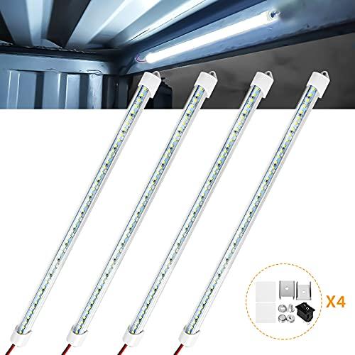 Barra de luz LED interior 12V 48 LED Barra de luz interior Tira de luz LED blanca universal con interruptor para coche, camión, caravana, furgoneta, barco de carga, remolque cerrado (4 Pcs)