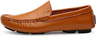 Men's Premium Genuine Leather Casual Slip On Loafers Breathable Driving Shoes Fashion Slipper casual shoes (Color : Yellow, Size : 35 EU)