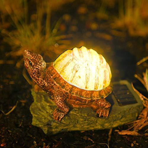 garden mile® Solarbetriebene Schildkröte Licht Ornament Statuen Schildkröte Neuheit Leuchtende Garten Tiere | Einzigartige Terrasse Teich Licht Terrassendekoration für draußen (Schildkröte)