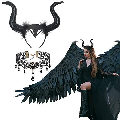 LOPOTIN Diadema Maléfica, Diadema Cuernos, Maléfico Cosplay Negro, Collar Encaje Negro para Mujer Hombre Niños Disfrazar Demonio Diablo Bruja Pitonisa en Carnival Halloween Fiestas Temáticas