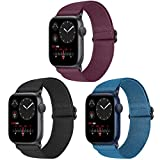 Vodtian Nylon Loop Elastic Watch Band Compatible with Apple Watch 38mm 40mm, Women Men Adjustable Replacement Sport Straps for iWatch Series 6/5/4/3/2/1/SE (Black+Navy Blue+Wine Red, 38mm/40mm)