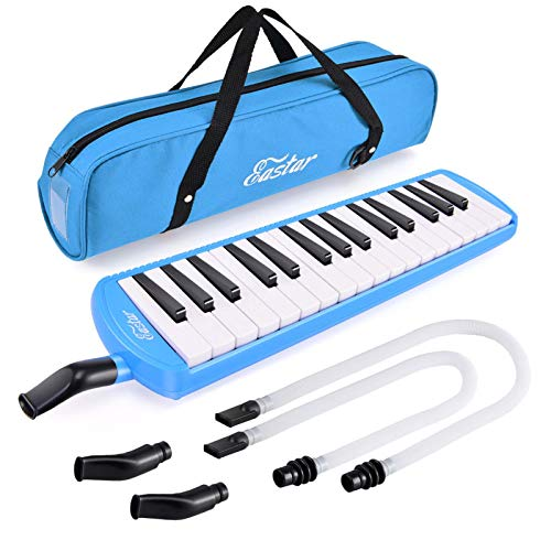 Eastar Melodica Instrument Pianica 32 Keys with Long Pipe 2 Short Mouthpieces and Carrying Bag Air Piano Keyboard, Blue
