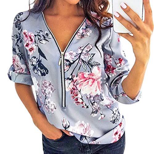 HenzWorld - Blusa con Cremallera y Cuello en V Sexy para Mujer Manga Larga Estampado de Flores Primavera y Otoño Camiseta Holgada Informal para El Hogar para Mujer (Gris Talla M)
