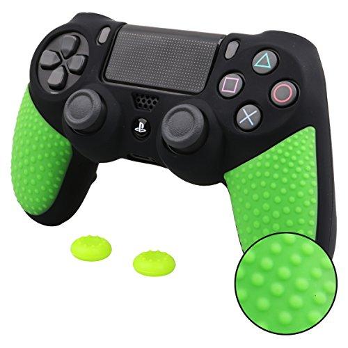 Pandaren® silicona grueso medio Fundas Protectores una mayor sensación de agarre el mando PS4 (negro y verde) x 1 + thumb grip x 2