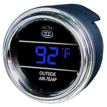 Teltek USA Auto Thermometer Gauge for Any Semi Pickup Truck or Car - Bezel  Chrome - LED Color  Blue