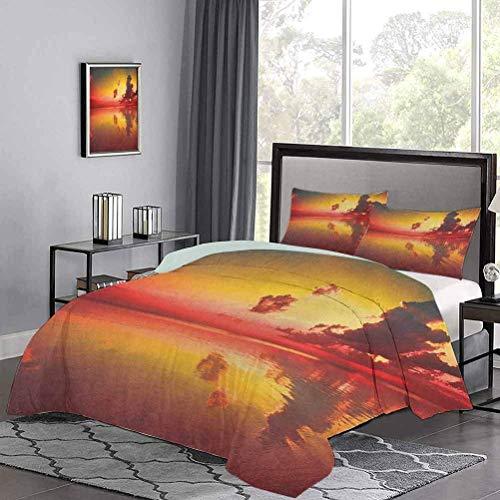 Yoyon Kinder-Quilt-Set Sonnenaufgang über Meerwasserreflexion Bewölkter Horizont Morgenansicht Sommerbettwäsche Weich Leicht Leicht Bequem Gelb Dunkel Korallenwaldgrün