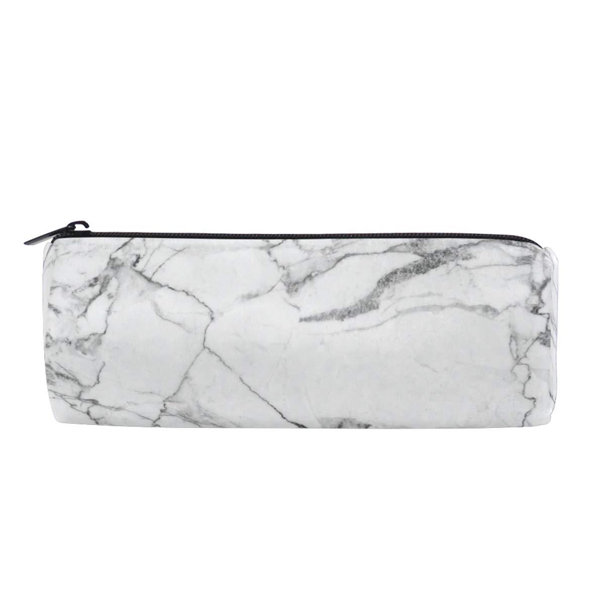 Wamika - Estuche para lápices, color blanco y negro con textura de piedra de mármol, bolsa de maquillaje, bolsa de cosméticos, caja organizadora de suministros de oficina: Amazon.es: Oficina y papelería