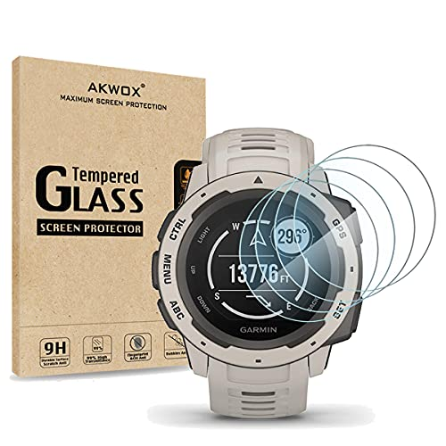 [4 Pack] AKWOX Compatible for Garmin Instinct Smartwatch Tempered Glass Screen Protector, 2.5D Arc Edges 9 Hardness HD Anti-Scratch Bubble-Free [Lifetime Replacement Warranty]