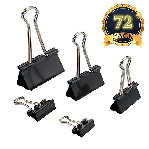 MAIKEHIGH 72 Stück FoldBack Klemmen Papier Metall Binder Clips für Notizen Briefpapier Clip Bürobedarf, 5 sortierte Größen, schwarz