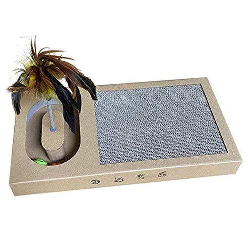 Rascador para Gato - Tabla de rascar para Mascotas - Tablero afilador de uñas de cartón Corrugado y bambú - con Juguete de Plumas, A-S