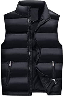 メンズ秋スタンドカラールーズジッパーノースリーブダウンベストアウタージャケット (色 : 黒, サイズ さいず : L l)