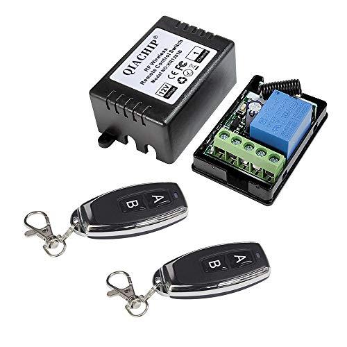 QIACHIP Universal Wireless Relais Modul 12V 1CH Fernbedienung Lichtschalter Empfänger RF 433Mhz mit 2 Smart Transmitters für Eingangskontrolle, Auto Licht 50 Meter Lange Reichweite