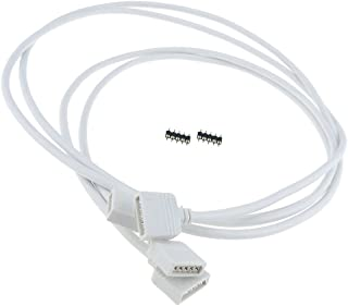 LEDENET 1 Meter 5pin RGBW LED Strip Extension Cable Connector Solderless Adapter for 10mm 12mm RGBW RGBWW Flexible LED Strip Lighting No Welding (2pc 1m Long connecotr)