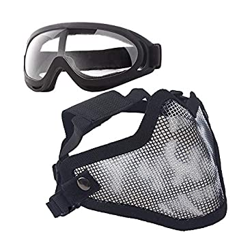 Anyoupin Airsoft Mask and Goggles Set Adjustable Metal Steel Mesh Half Face Mask with Ultra-Violet Protective Outdoor Glasses Goggles for Paintball Shooting Cosplay War Game Black Skull & Goggles
