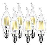 LVWIT Bombillas Vela de Filamento Flame LED E14...