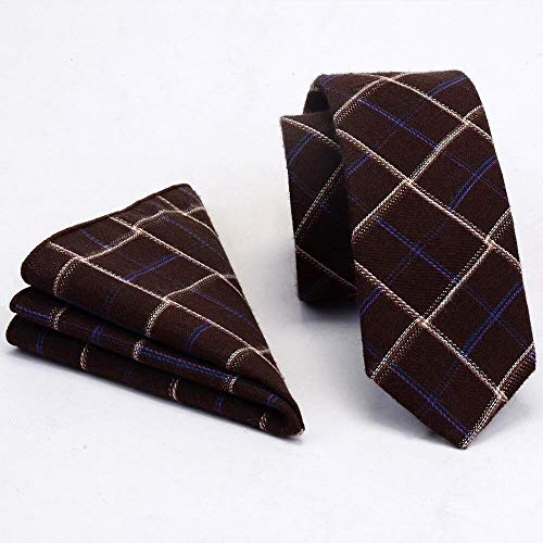 XXYHYQHJD Cotone Slim Tie Plaid Lana Cashmere Cravatte Mens 6cm Cravatta e Pochette Set Vestito da Festa di Nozze (Color : 15, Size : One Size)