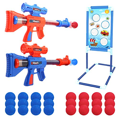 Shooting Game Toys for 5 6 7 8 9 10+ Year Old Boys and Girls,2pk Air Powered Toy Guns Set with Standing Shooting Target&24 Foam Balls,Birthday Gifts for 5 7 10 Year Old Boys,Compatible with Nerf Toys