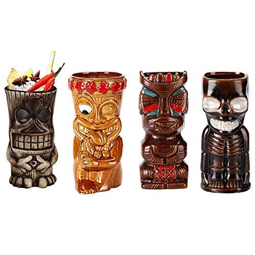 Tiki Becher,cocktailgläser,Keramik, Tiki Cocktail Party,Aus Keramik,450Ml – Keramik, Hawaii-Design,Partydekoration,Natural