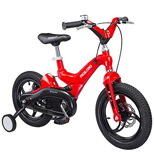 Bospyaf Kinderfahrräder, Jungen und Mädchen Fahrräder, sicher und leicht, 14/16 Zoll Kinder stoßabsorbierenden Fahrrad (rot),16 inch