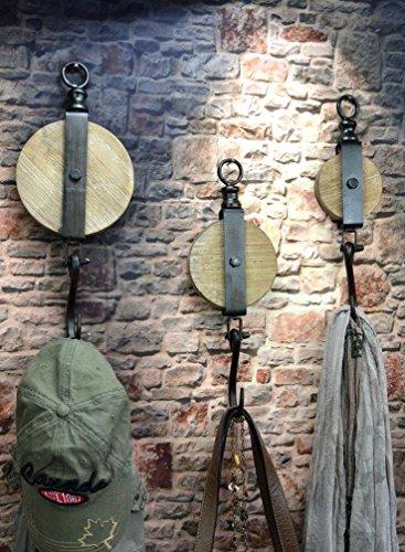 Livitat® Wandhaken Flaschenzug Metall Industrie Design Vintage Loft LV5095/2