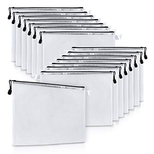 Bolsa con Cremallera (15 Piezas) - Bolsa de Malla A4 para Archivos con Cordel - Bolsas Documentos Multipropósito Organizador para Cosméticos, Neceser, Accesorio de Viajes, Papelería, Aparatos
